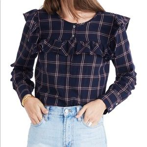 Madewell | XS Plaid Ruffle Yoke Top